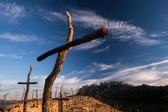 EL Bosc de les Creus & x28; La foresta del Crosses& x29; e Montserrat Fotografie Stock