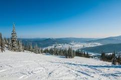 El bosque de la montaña arrastra la cuesta del esquí Fotografía de archivo libre de regalías