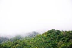 El bosque en el frente de las montañas en la niebla y la mentira baja se nublan; Presa Kanchanaburi Tailandia de Srinakarin foto de archivo