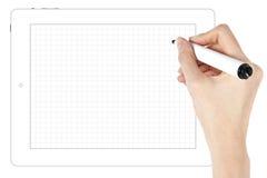 El bosquejar en la tablilla digital Imágenes de archivo libres de regalías