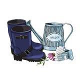 El bosquejo con la regadera del jardín, las botas de goma, los guantes y el echinacea florece ilustración del vector