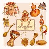 El bosquejo de África coloreó iconos fijados libre illustration