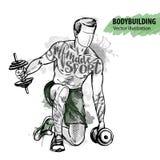El bosquejo de la mano de un hombre está entrenando con pesas de gimnasia Ejemplo del deporte del vector stock de ilustración