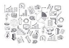 El bosquejo de las imágenes y de los diagramas dibujados mano de los gráficos se relacionó con el negocio Fotos de archivo libres de regalías