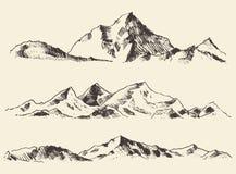 El bosquejo de las montañas contornea vector dibujado grabado Foto de archivo libre de regalías
