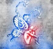 El bosquejo del arte del tatuaje, hada con la mariposa se va volando Imagen de archivo