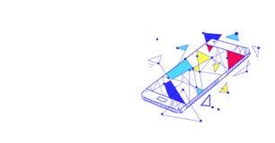 El bosquejo del concepto de la aplicación móvil de Smartphone garabatea el plano aislado horizontal libre illustration