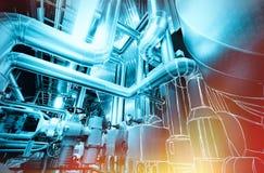 El bosquejo del diseño de la tubería mezcló con la foto del equipo industrial fotos de archivo