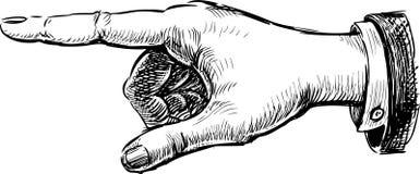 Mano con señalar el dedo ilustración del vector