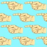 El bosquejo que señala la mano, vector el modelo inconsútil Imagen de archivo libre de regalías