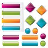El botón brillante moderno fijó en diversas dimensiones de una variable libre illustration