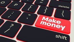El botón con el texto hace el teclado del ordenador portátil del dinero ilustración 3D ilustración del vector