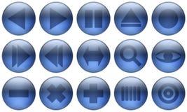 El botón de cristal fijó 2 Imagen de archivo libre de regalías