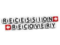 el botón de la recuperación de la recesión 3D hace clic aquí el texto del bloque Imágenes de archivo libres de regalías