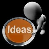 El botón de las ideas significa concepto de la mejora Foto de archivo libre de regalías