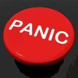 El botón de pánico muestra la desolación que se atierra de la ansiedad Imagen de archivo libre de regalías