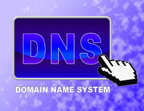 El botón del Dns muestra domain name server y tecleo Foto de archivo