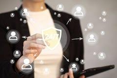 El botón del negocio 24 horas mantiene la muestra de la red del virus de la seguridad del escudo Imagen de archivo