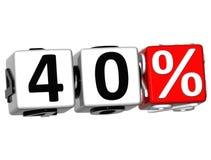 el botón del 40 por ciento 3D hace clic aquí el texto del bloque Foto de archivo libre de regalías