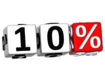 el botón del 10 por ciento 3D hace clic aquí el texto del bloque Fotos de archivo