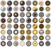 El botón redondo o los remaches de los accesorios de los vaqueros realistas del metal fijó el elemento del diseño web Ejemplo del Fotos de archivo