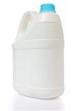 El bote blanco y el color ciánico capsulan el polietileno en el backgrou blanco Imagenes de archivo