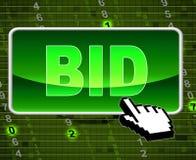 El botón de la oferta indica el World Wide Web y la subasta Imagen de archivo