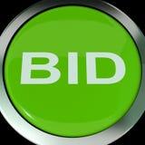 El botón de la oferta muestra la subasta o hacer una oferta en línea Imágenes de archivo libres de regalías