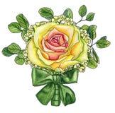 El boutonniere de la boda con subió, el waxflower, hojas del eucalipto a Fotos de archivo