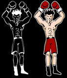 El boxeador con los brazos crió el personaje de dibujos animados Fotos de archivo libres de regalías
