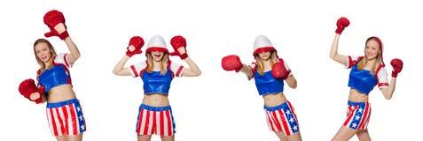 El boxeador de sexo femenino aislado en el fondo blanco Imágenes de archivo libres de regalías