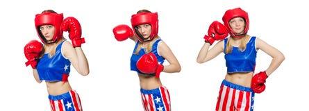 El boxeador de sexo femenino aislado en el fondo blanco Fotografía de archivo libre de regalías