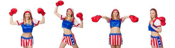 El boxeador de sexo femenino aislado en el fondo blanco Imagenes de archivo