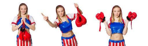 El boxeador de sexo femenino aislado en el fondo blanco Imagen de archivo libre de regalías