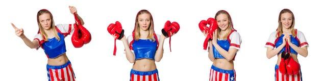El boxeador de sexo femenino aislado en el fondo blanco Fotos de archivo libres de regalías