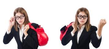 El boxeador de sexo femenino divertido del empleado aislado en blanco fotos de archivo libres de regalías