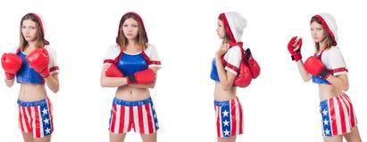 El boxeador de sexo femenino joven aislado en blanco imagen de archivo