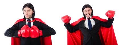 El boxeador joven del hombre de negocios aislado en blanco Imágenes de archivo libres de regalías