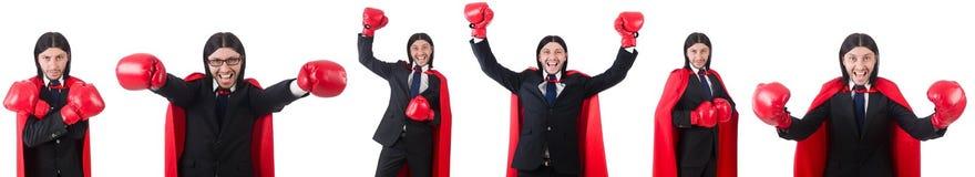 El boxeador joven del hombre de negocios aislado en blanco Fotografía de archivo libre de regalías