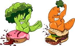 El bróculi contra el buñuelo, hamburguesa de las zanahorias, comida sana ayuna, competencia Imagen de archivo libre de regalías