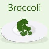 El bróculi en la placa cocinó para el menú del detox en el fondo verde claro Imagen de archivo libre de regalías