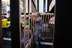 El Brasil calle protesta 12 de abril de 2015 São Pablo Imagen de archivo