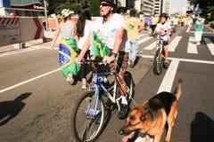 El Brasil calle protesta 12 de abril de 2015 São Pablo Fotografía de archivo libre de regalías
