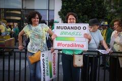 El Brasil calle protesta 12 de abril de 2015 São Pablo Imágenes de archivo libres de regalías