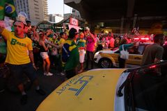 El Brasil calle protesta marzo de 2016 São Pablo Imagenes de archivo