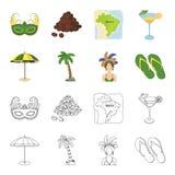 El Brasil, país, paraguas, playa Iconos determinados de la colección del país del Brasil en la historieta, acción del símbolo del Fotografía de archivo libre de regalías