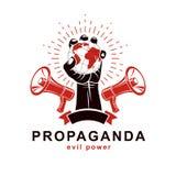 El brazo aumentado sostiene el globo de la tierra, logotipo del vector compuesto usando los altavoces Propaganda como el método d stock de ilustración