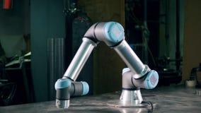 El brazo cibernético se mueve, trabajando en una planta almacen de video