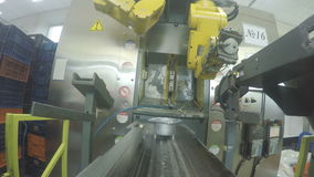 El brazo mecánico del robot pone el detalle del metro en el primer del transportador metrajes