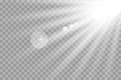 El brillar intensamente blanco ligero estalla en un fondo transparente Párticulas de polvo mágicas chispeantes Estrella brillante ilustración del vector